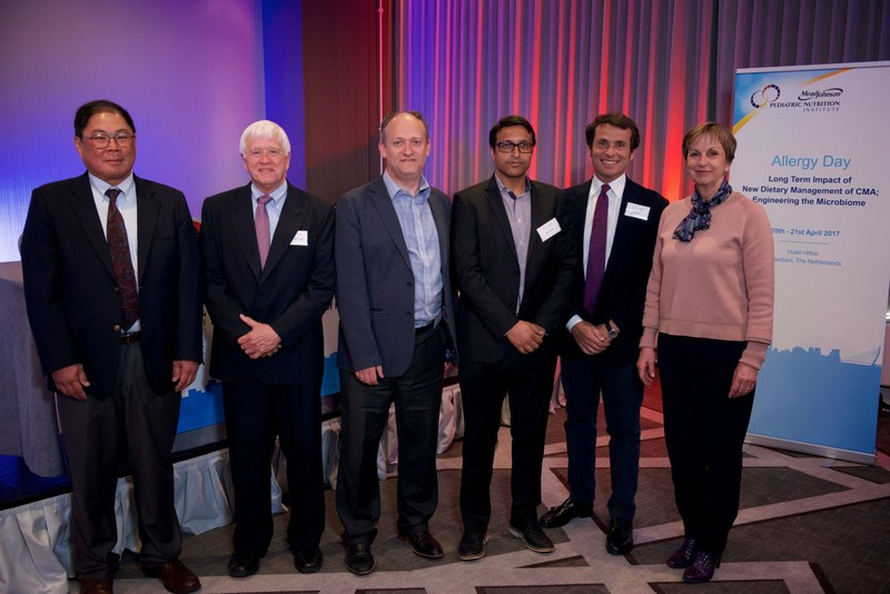 From the left, Glenn Furuta, MD, Jon Vanderhoof, MD, Adam Fox, MD, Neil Shah, MD, Roberto Berni Canani, MD, PhD, Gigi Veereman, MD, PhD (PRNewsfoto/Mead Johnson Nutrition)