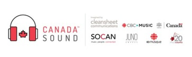 Collaborators of CanadaSound include cleansheet communications, CBC Music, The Canadian Academy of Recording Arts and Sciences (CARAS), JUNOS, SOCAN and The Department of Canadian Heritage. (CNW Group/cleansheet communications)