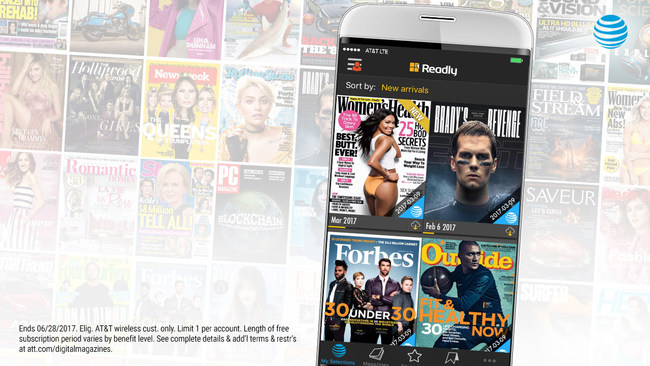 Eligible AT&T wireless customers now have access to over a thousand magazines on Readly Select to share with others on the account on up to five personal devices for a limited time compliments of AT&T THANKS(R).