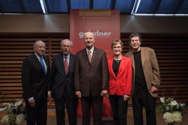 2017 Canada Gairdner Awards Announcement featuring (L to R): Dr. Joe Goldstein (Lasker Foundation), Dr. Antoine M. Hakim (2017 Canada Gairdner Wightman Awardee/University of Ottawa), Minister Reza Moridi (Minister of Research, Innovation and Science), Dr. Janet Rossant (Gairdner Foundation) and Dr. Lewis Kay (2017 Canada Gairdner International Awardee/University of Toronto/ The Hospital for Sick Children) (CNW Group/Gairdner Foundation)
