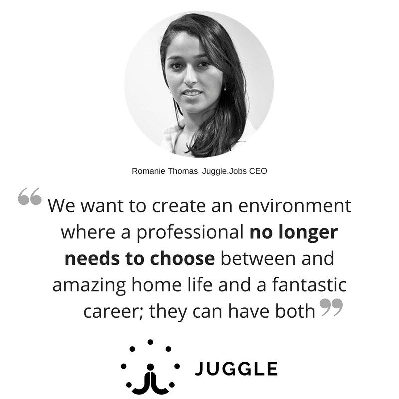 Romanie Thomas aims to increase the percentage women in business leadership by making flexible working viable for businesses via her SaaS platform Juggle.Jobs (PRNewsFoto/Juggle.Jobs)