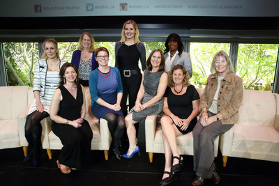 Faculty authors of the 2017 Report on the Status of Women and Girls in California pose for a photo with Mount Saint Mary's University President Ann McElaney-Johnson (fourth from right) and Geena Davis (center), founder of the Geena Davis Institute on Gender in Media at Mount Saint Mary's.