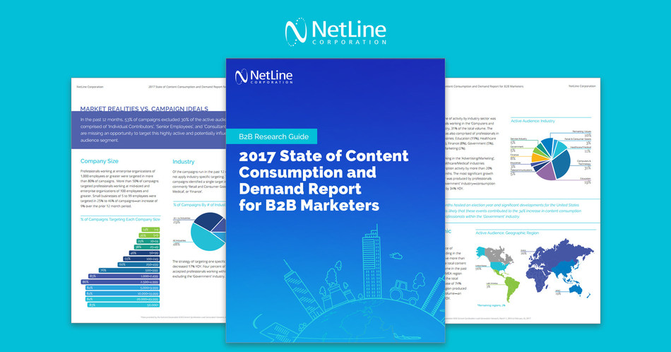 NetLine Corporation research analyzed 8.5 million leads to aid the B2B marketer's content strategy--insights featured in the 2017 State of Content Consumption and Demand Report.