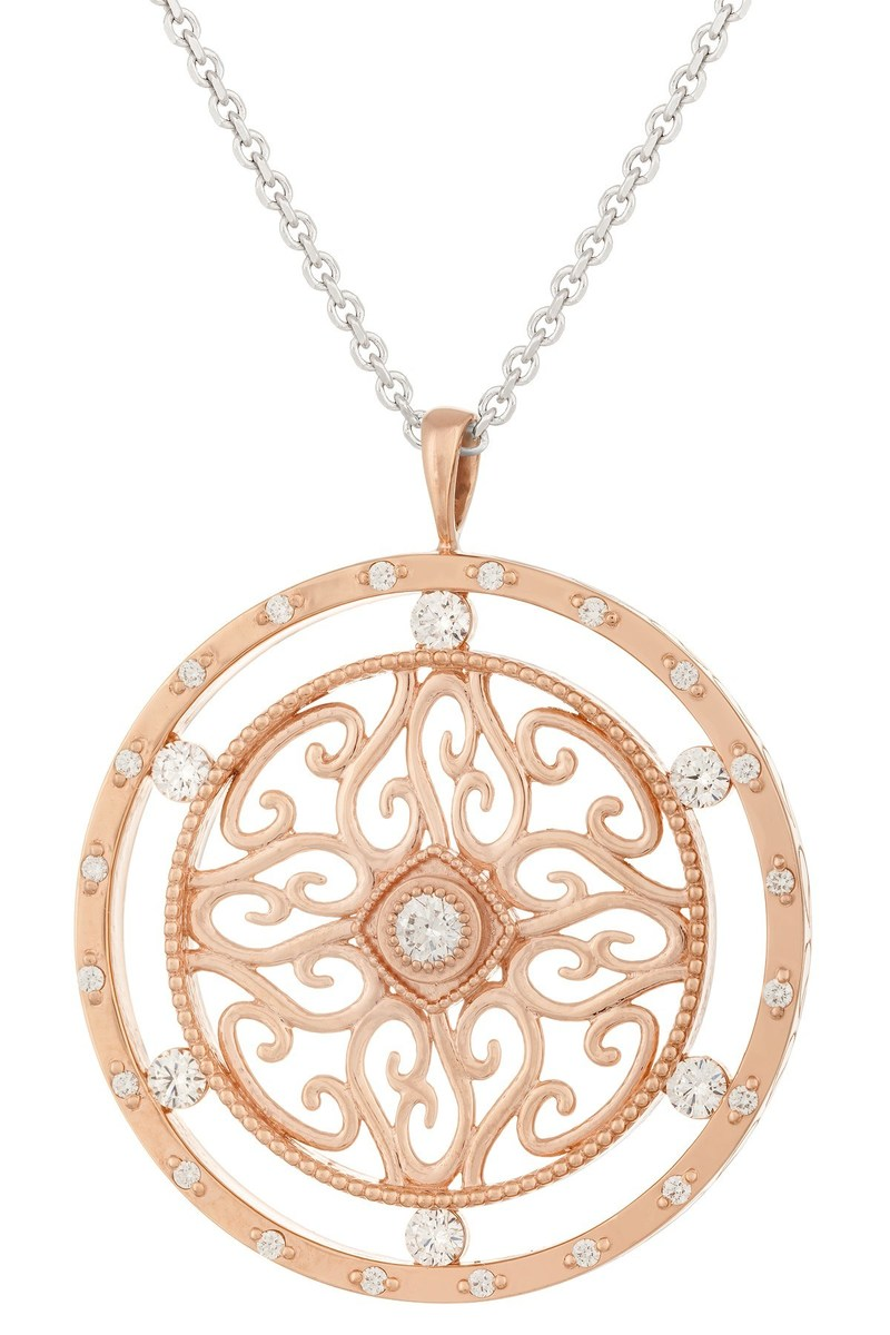 "The Jewelers of America ""People's Choice"" CASE Award winner was Christian Caine Design of Shepherdstown, WV for their Milano(C) 14K rose gold pendant, designed by Christopher Rankin, featuring 28 round ideal cut diamonds (0.90 ctw)."