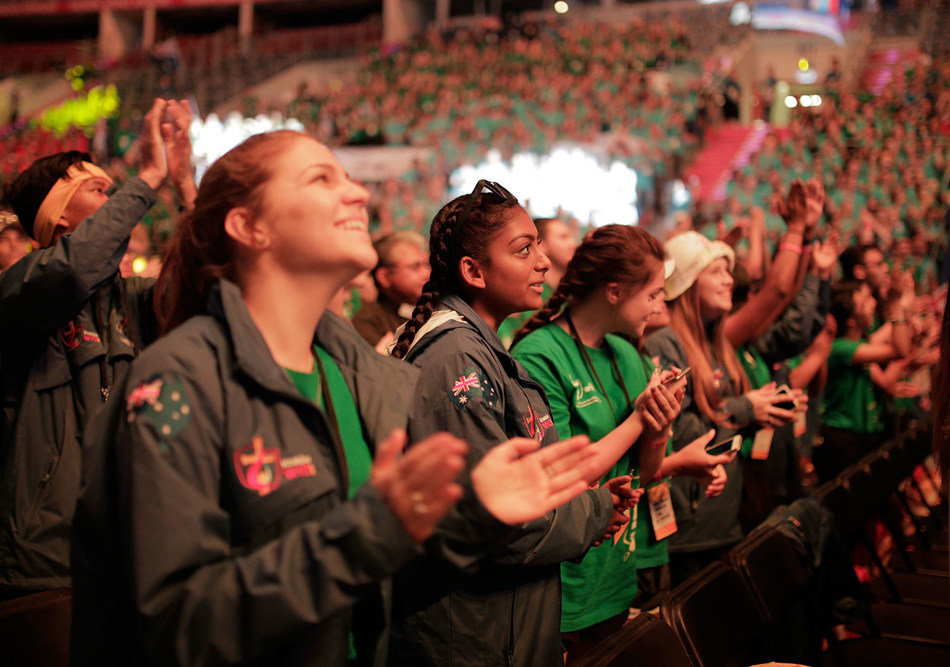 Pilgrims sing and pray in the Knights of Columbus-sponsored Mercy Centre at Tauron Arena during the World Youth Day Krakow celebration.