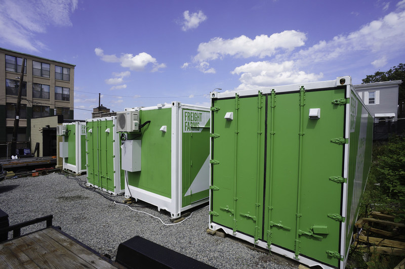 Hydroponic shipping container urban farms. Four operating Leafy Green Machines in the city of Boston.