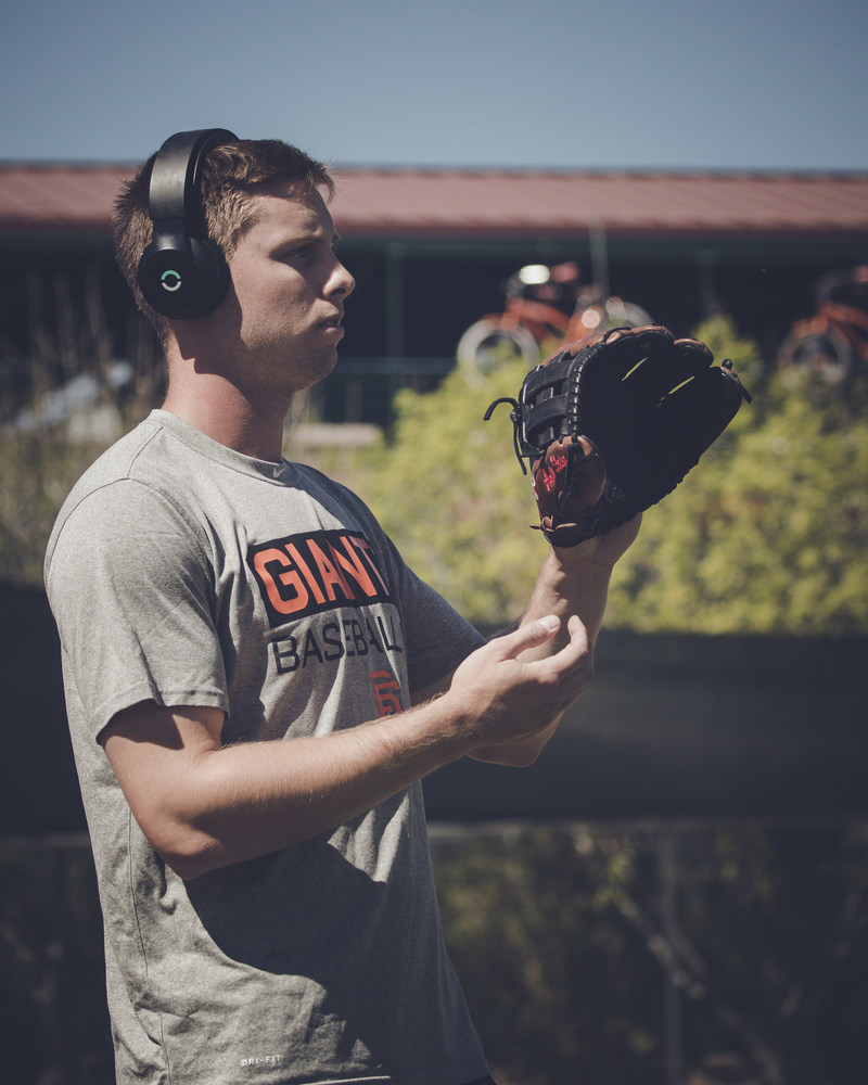 Austin Slater, San Francisco Giants outfielder, uses Halo Sport at Spring Training.