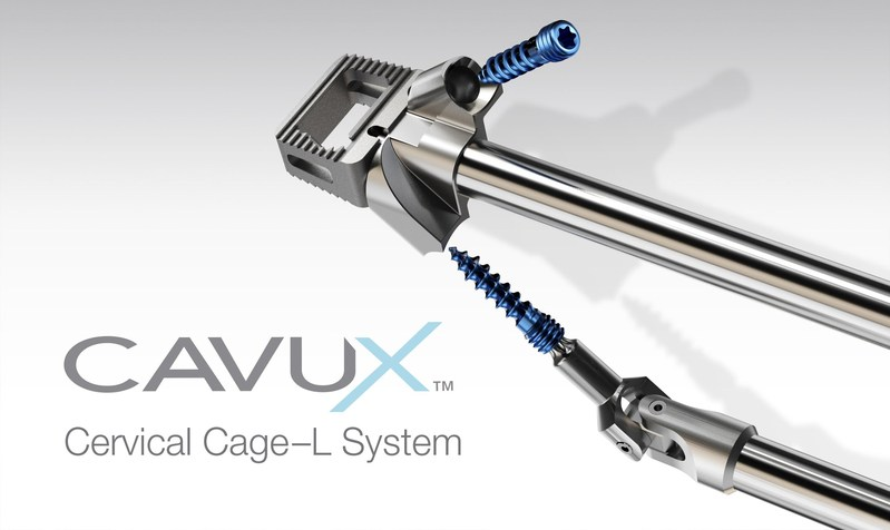 CAVUX(TM) Cervical Cage-L System from Providence Medical Technology, Inc. is manufactured from medical grade titanium and available in a variety of sizes. The implant offers proprietary grit-blasted and acid-etched surfaces, a large space for allogenic and autogenous bone graft and includes self-drilling and self-tapping screws for additional, standalone fixation.