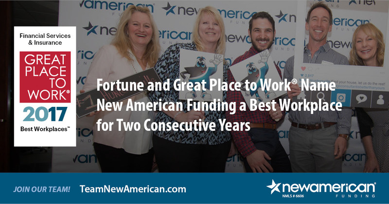 Fortune and Great Place to Work(R) Name New American Funding a Best Workplace for Two Consecutive Years