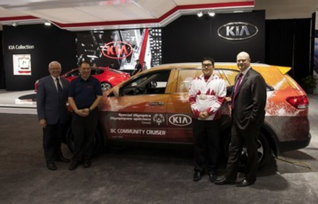 Kia Becomes Official Automotive Partner of Special Olympics Canada. In photo: Dan Howe, President and CEO, Special Olympics BC; Vincent Li, Special Olympics BC (floor hockey, softball, soccer, bowling); Alex Pang, Special Olympics BC (figure skating); Ted Lancaster, VP & COO, Kia Canada Inc.; (CNW Group/KIA Canada Inc.)