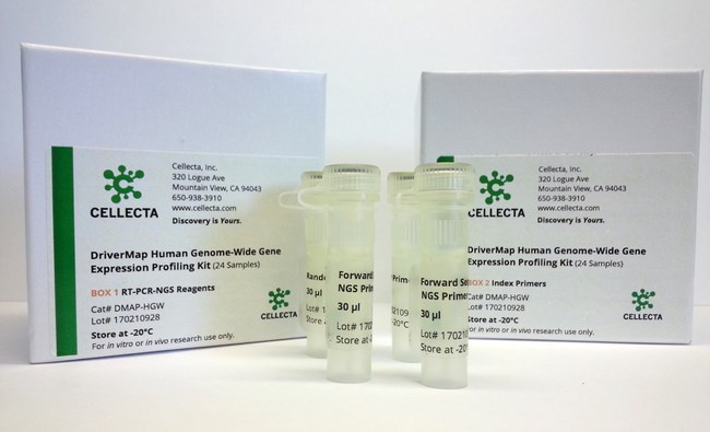 The Driver-Map(TM) assay kit includes a complete set of gene-specific and PCR-NGS primers, buffers, spike-in ERCC and positive control RNAs as well as all other reagents required to profile 24 samples and prepare them for digital expression profiling using an Illumina(R) NGS system.