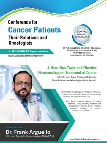 Renowned American Cancer Scientist To Discuss A New and Effective Treatment For Cancer Patients At UBC Robson Square (CNW Group/Vancouver Cancer Conference 2017)
