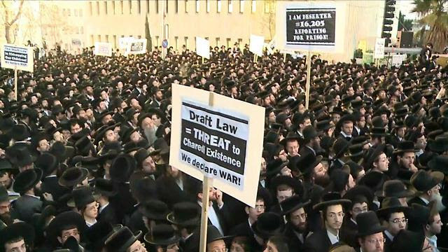 Orthodox Jews protest against army recruitment in Jerusalem, on March 28, 2017