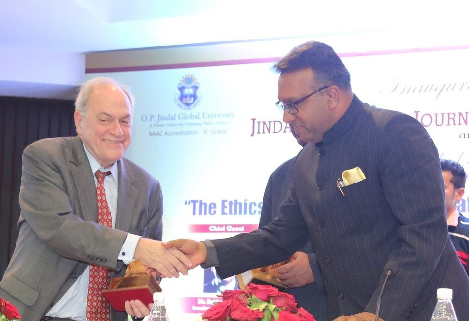 Professor Tom Goldstein, Founding Dean of Jindal School of Journalism and Communication with O. P. Jindal Global University, Founding Vice-Chancellor, Prof. (Dr) C Raj Kumar at the launch ceremony of the Jindal School of Journalism and Communication. (PRNewsFoto/O.P. Jindal Global University)