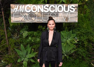 Chrissy Teigen attends the H&M Conscious Exclusive dinner in L.A