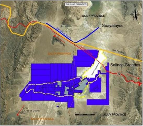 Figure 1: LSC Tenements in Salinas Grandes Salar (CNW Group/LSC Lithium Corporation)