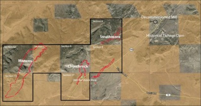 Overview of Churchrock and Mancos Resource Area (CNW Group/Laramide Resources Ltd.)