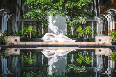 The royal Khmer Villa-inspired salt water pool at the newly renovated Anantara Angkor Resort provides a refreshing break after touring the majestic temples in the area.