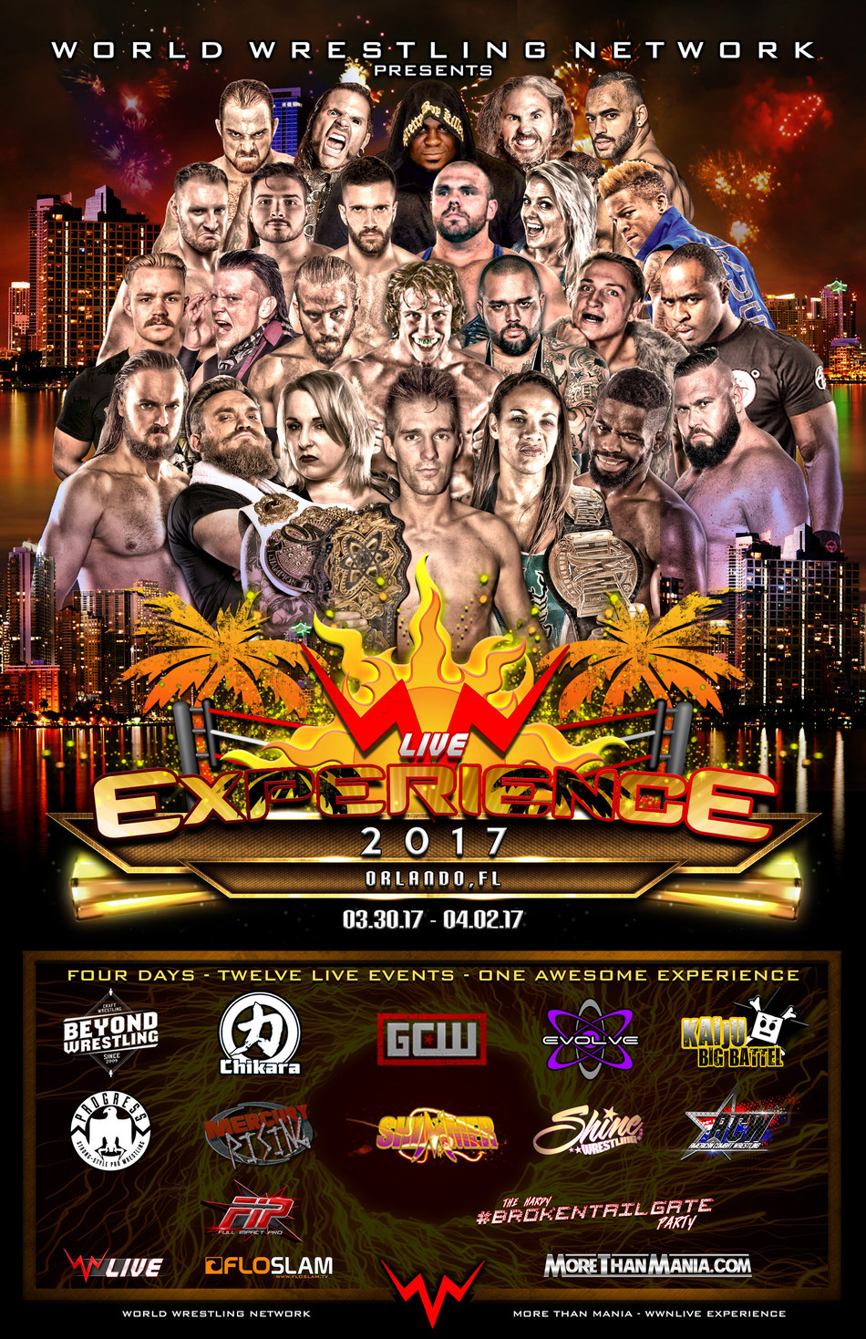 The WWNLive Experience invades Orlando on WrestleMania weekend. It will take place from March 30th-April 2nd at Orlando Live Events (6405 S US Hwy 17-92, Fern Park, FL) and feature 12 pro wrestling brands, over 100 talents and 12 live events. In addition, The Hardy #BrokenTailgate will take place on Sunday, April 2nd from 10AM-6PM ED in downtown Orlando, less than 1 mile from the site of WrestleMania. Visit www.MoreThanMania.com for tickets and more information.
