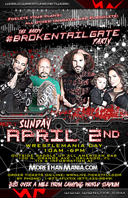 Join Broken Matt Hardy, Brother Nero, Queen Rebecca Hardy & Senor Benjamin with Maxel for the biggest professional wrestling party of the year happening this Sunday, April 2nd, as The Hardys are bringing The Hardy Compound to Orlando on WrestleMania day for an amazing tailgate party!!! That's right; The Hardy experience is coming to Orlando!!! DELETE your plans. They are now OBSOLETE because the #BrokenTailgate is coming.