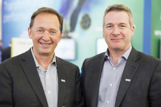 Left to right: Germain Lamonde, EXFO Founder & Executive Chairman, Philippe Morin, EXFO CEO. (CNW Group/EXFO inc.)