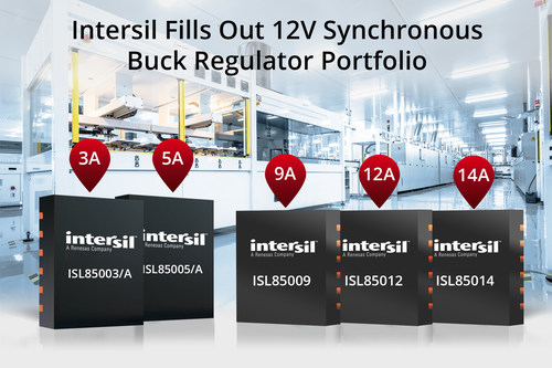 Intersil's highly integrated ISL850xx synchronous buck regulators support auxiliary rails for industrial and infrastructure point-of-load applications up to 14A.