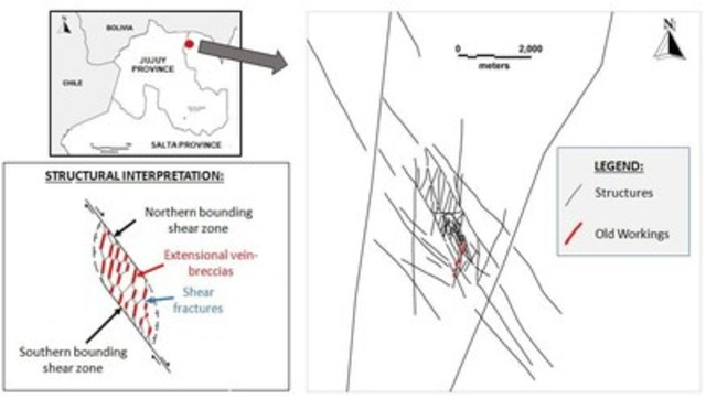 Figure 1. Map of the vein system in which La Niquelina Mine lies, with inset locality map of northern Argentina  ...