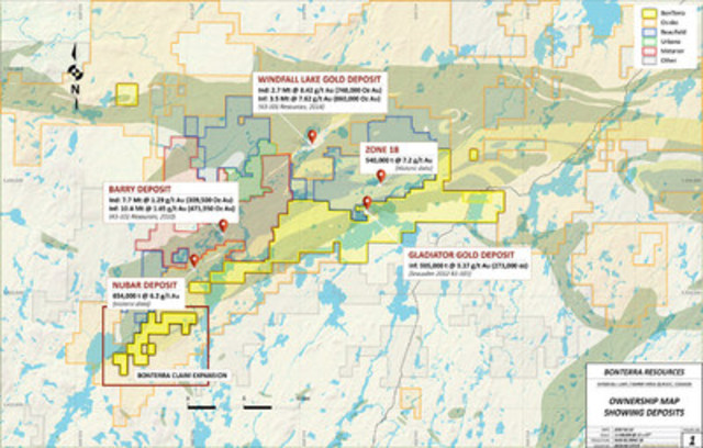 The Trove Property is a direct extension of the south west mineralized trend that Bonterra is currently exploring on its Gladiator gold deposit and Coliseum gold property. (CNW Group/BonTerra Resources Inc.)