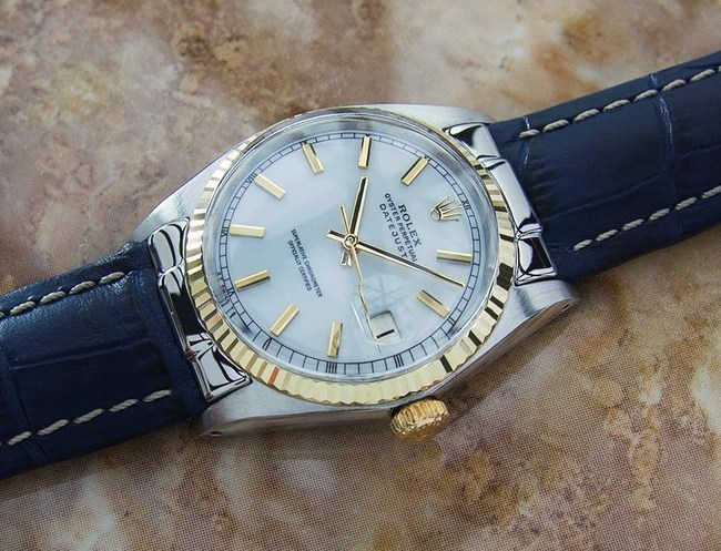 1965 Rolex Datejust 1601 18k Gold & Stainless Men's Swiss Made Automatic Vintage Watch on leather.