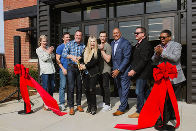 Freedom House Church's new South End Charlotte campus opens Sunday, April 2nd. Featured here in photo (from left to right): Diana and Matt Henderson, Senior Pastors Troy and Penny Maxwell, Colby Maxwell, Senator Joel Ford, Tim Cool, and Councilman Gregory Phipps.