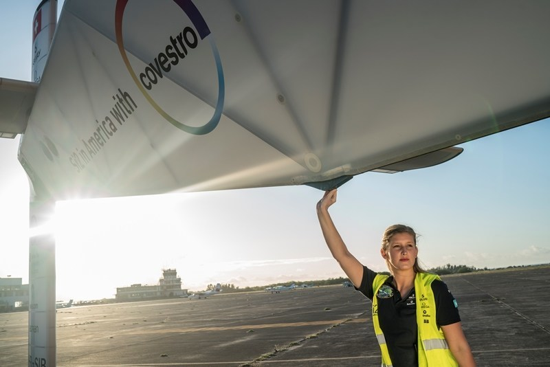 Covestro employee and Solar Impulse ground crew member, Paige Kassalen, will deliver the keynote address at the 2017 Covestro Pittsburgh Regional Science & Engineering Fair. (Photo credit: Jean Revillard / REZO)