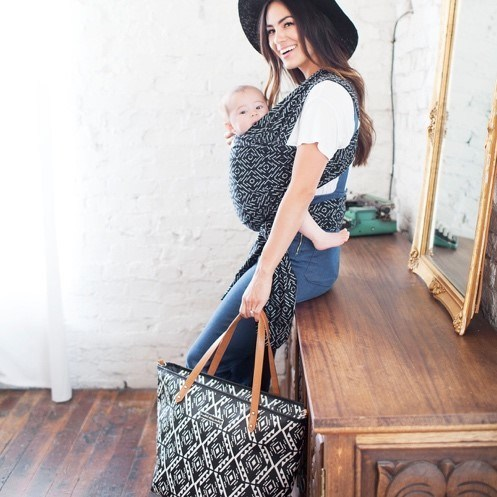 Two customer favorites in one- the playful prints of Petunia Pickle Bottom outfit the popular MOBY wrap, and coordinate with the Petunia Pickle Bottom diaper bag, also shown here.