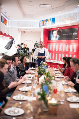 Guests enjoy a special dinner as Chef Mathew Peters and Chef Travis Swikard recreated classic dishes by ment'or founders Chefs Thomas Keller and Daniel Boulud with Kellogg's cereal at Kellogg's NYC on Wed. March 29, 2017 in New York.