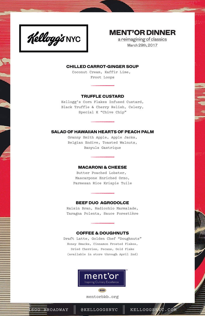 Kellogg's NYC ment'or Dinner Menu