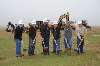 Newfield Exploration Company broke ground on a multi-million dollar water recycling facility located in Kingfisher County, Oklahoma. The facility is expected to process approximately 30,000 barrels of water per day upon completion in early July 2017. Left to right: Newfield employees Ben Lloyd, Reed Durfey, Orson Barney and Larry Simmons; Justin Barton, Landowner; and Lloyd Hetrick, Newfield.