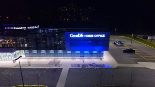 GoodLife Fitness tests out blue floodlights on its home office building in advance of World Autism Awareness Day on April 2. Canadian businesses are encouraged to 'Light it up Blue' as part of a global awareness effort led by Autism Speaks (CNW Group/GoodLife Fitness)