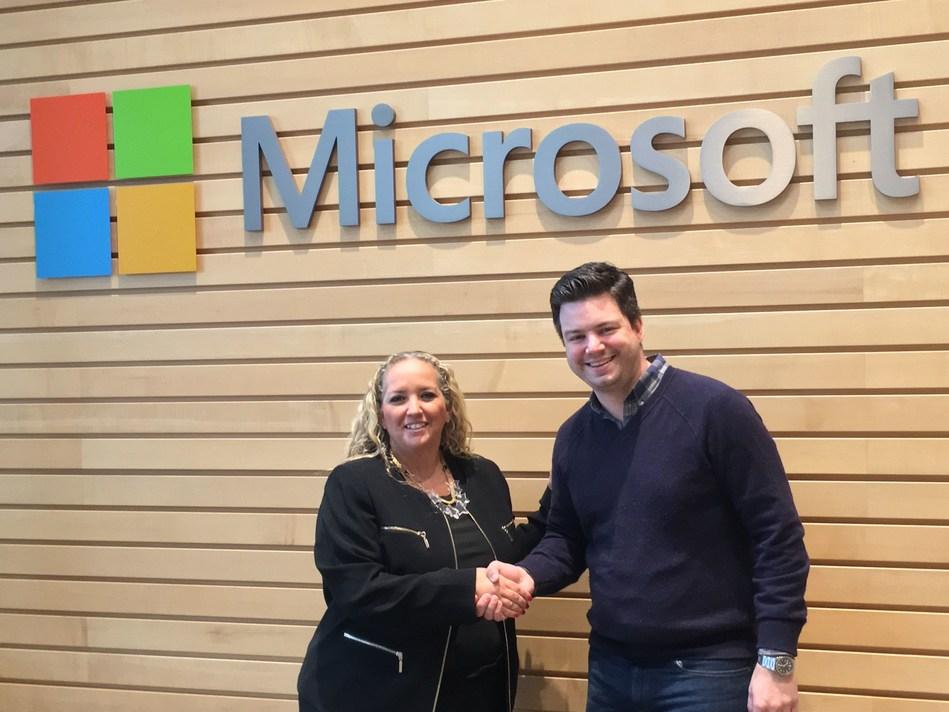 Shelly Landsmann - General Manager, Microsoft Israel and Kit Merker - VP Business Development, JFrog (PRNewsFoto/JFrog)