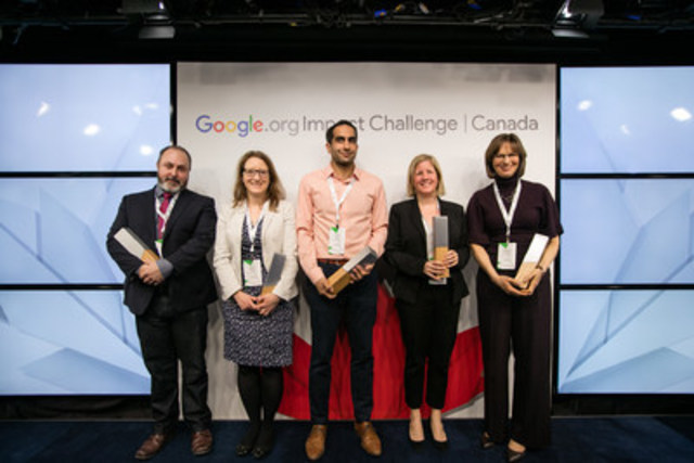 Winners of the Google.org Impact Challenge, left to right: Joel Heath, Arctic Eider Society; Audra Renyi, World Wide Hearing International; Tariq Fancy, The Rumie Initiative; Renee Black, PeaceGeeks; and Katherine Schmidt, Food Banks. (CNW Group/Google Canada)