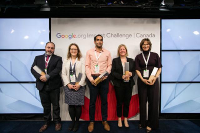 Winners of the Google.org Impact Challenge, left to right: Joel Heath, Arctic Eider Society; Audra Renyi, World Wide Hearing International; Tariq Fancy, The Rumie Initiative; Renee Black, PeaceGeeks; and Katherine Schmidt, Food Banks. (CNW Group/Google Canada)