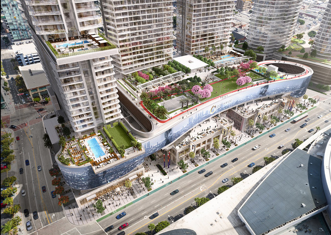 The Oceanwide Plaza Residences will feature a two acre sky park 100 feet above street level featuring an array of outdoor amenities exclusively for residents and their guests.