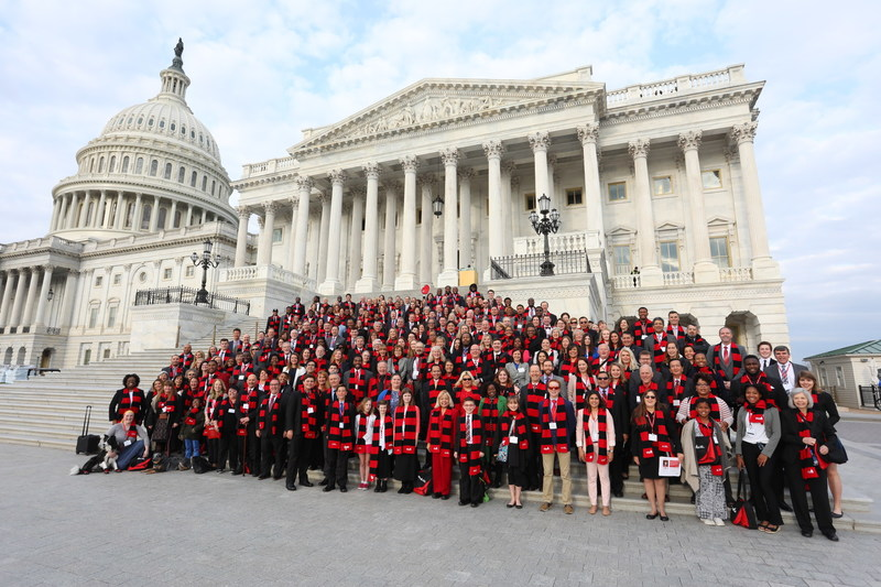 Diabetes advocates, researchers and members of Team Tackle on the steps of the Capitol for the American Diabetes Association's Call to Congress advocacy day.