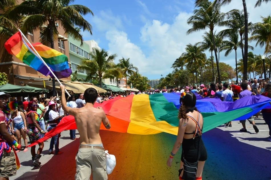 Miami Beach Gay Pride Parade and Rainbow Flag on Ocean Drive, Photo Credit: Juan Saco Mironoff