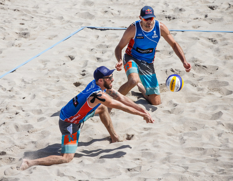 Olympians and Rox Volleyball sponsored athletes, Phil Dalhausser and Nick Lucena, competing at the Swatch Beach Volleyball Major Series in Fort Lauderdale this past February. Photo by Techandphoto Images.