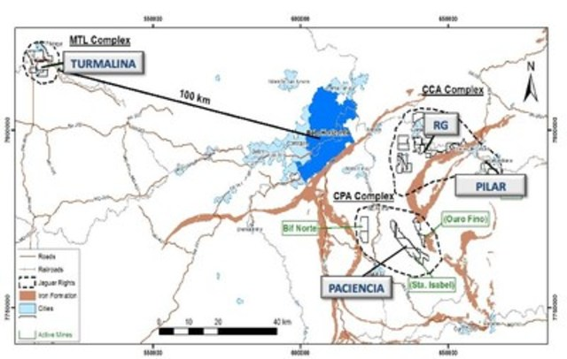 Figure #1 Location Map of Operating Assets in Southern Brazil (CNW Group/Jaguar Mining Inc.)