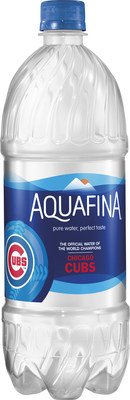 PepsiCo launches limited-edition Aquafina bottles for Chicago Cubs fans, featuring the Cubs World Series Championship logo.