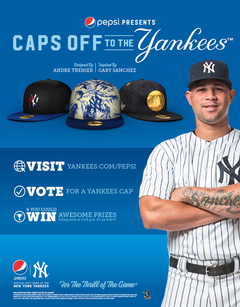 "New York Yankees catcher Gary Sanchez inspires custom images designed by Bronx artist Andre Trenier for PepsiCo's ""Caps off to the Yankees"" program with New Era."