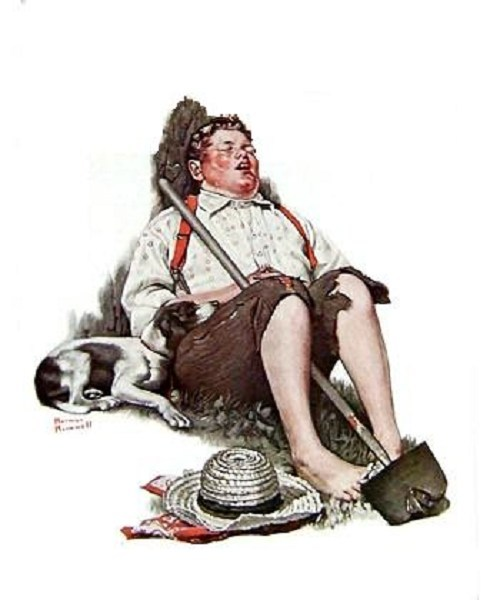 Norman Rockwell's Boy Asleep with Hoe