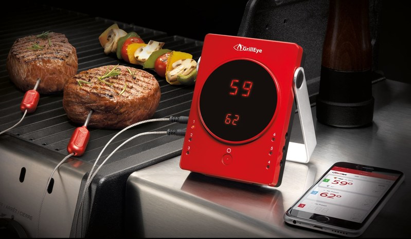 GrillEye(R) Bluetooth(R) Smart Grilling and Smoking Thermometer with FDA approved probes