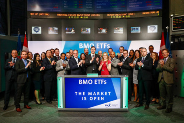 Kevin Prins, Vice President and National Director, BMO ETFs, joined Shaun McIver, Chief Client Officer, Equity Capital Markets, TMX Group, to open the market to launch four new Exchange Traded Funds (ETFs): BMO Canadian High Dividend Covered Call ETF (ZWC); BMO US Put Write Hedged to CAD ETF (ZPH); BMO US Preferred Share Index ETF (ZUP/ZUP.U); and BMO US Preferred Share Hedged to CAD Index ETF (ZHP). Established in May 2009, BMO ETFs is a financial services company and is managed and administered by BMO Asset Management Inc., an investment fund manager and portfolio manager and separate legal entity from Bank of Montreal. ZWC; ZPH; ZUP/ZUP.U; and ZHP; commenced trading on Toronto Stock Exchange on February 9, 2017. (CNW Group/TMX Group Limited)