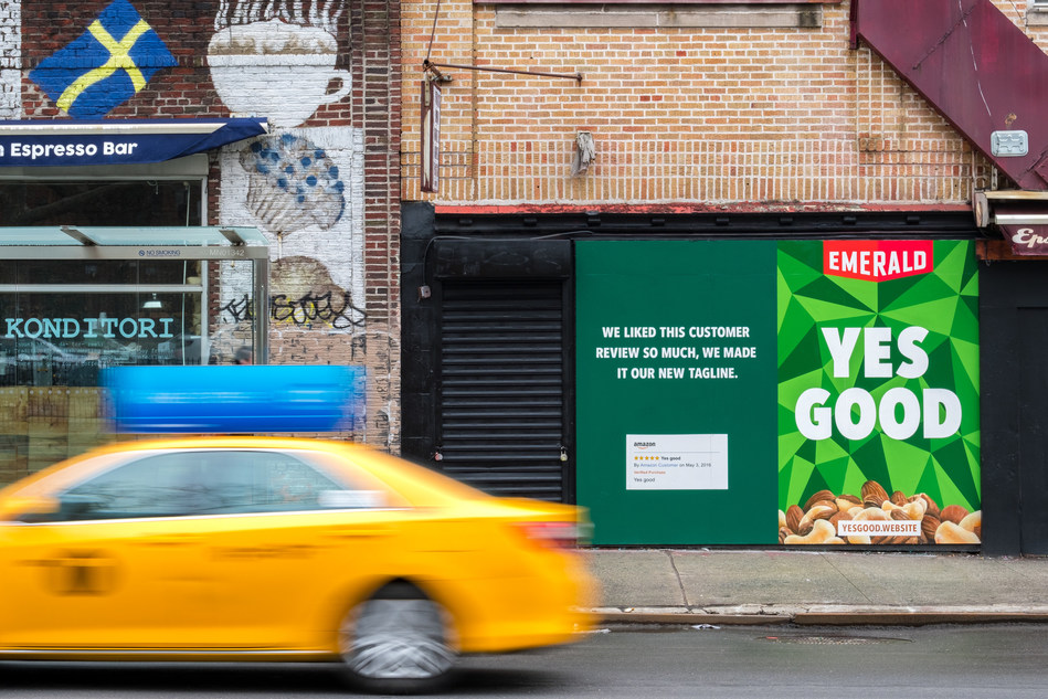 "Emerald will prominently showcase the mystery customer's review ""Yes Good"" in outdoor advertising in Boston, Miami and New York."
